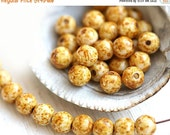 30%OFF SALE Picasso beads, 5mm round beads, Rustic beige brown, druk, Czech glass, round spacers, glass beads - 5mm - 40Pc - 0128