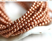 30%OFF SALE Czech pearl beads, Full Strand - Satin Soft Copper - faux pearls, tiny spacers, round, druk - 2mm - 150Pc - 1526