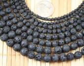 Natural Lava Rock Gem Stone 4/6/8/10/12mm Round Beads Strand, 15.5-inch Strand G52216