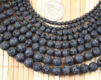 Natural Lava Rock Gem Stone 4/6/8/10/12mm Round Beads Strand, 15.5-inch Strand G52216