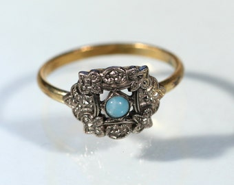Antique Ring On Silver Plate And Gold Tone Glass Paste Bead Victorian Ring French Ring Size Ring 6.25 US