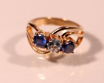 Vintage 80s Ring Gold Plated Ring Rhinestones Ring French Jewelry Size Ring 6.75 US