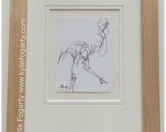 ACEO Original Blind Contour Drawing of a Flamingo by Kylie Fogarty, SFA