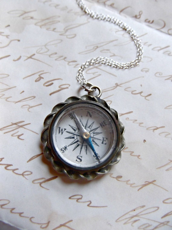 Antique Victorian Working Compass Necklace