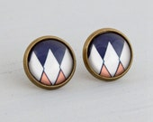 Art Deco Earrings ..  geometric earrings, art deco post earrings, navy blue, peach, white,  geometric studs, small earrings