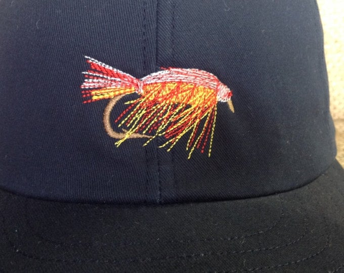 Fly Fishing custom made cotton twill cap. Custom made to order, any size, leather or cotton sweatband