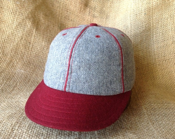 6 panel dark grey wool flannel ballcap with maroon 1910s visor, maroon soutache, cotton sweatband,  custom made, select size upon checkout.