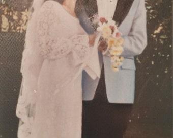 Vintage 1970's Lace Wedding Dress