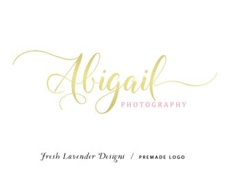 Custom Logo Designer Premade Logo Design and Watermark for Photographers and Small Businesses Gold Text Only Handwritten Text
