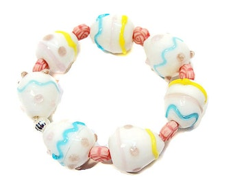 Girls Glass Lampwork Easter Egg Stretchy Bracelet