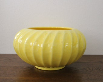 Vintage Large Yellow Ceramic Flower Plant Vase Pot