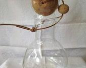 Corning NY Pyrex caraf mid century round ball cork stopper