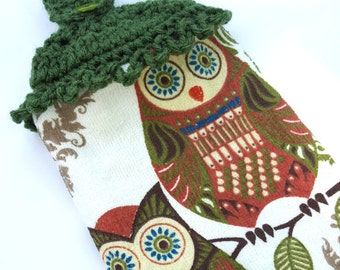 Crochet Kitchen Owl Hanging Dish Towel Crochet Top Towel Decoration Owl Decor
