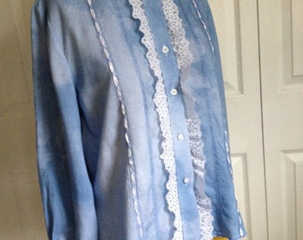 Victorian blouse L Blue blouse, handmade heirloom blouse, periwinkle blouse