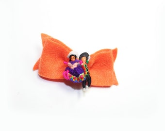Orange Felt Bow clip on barrette
