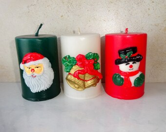 Vintage Christmas Candles Small Pillar Candle Santa Snowman Bell Red Green White
