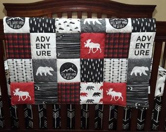 Adventure Moose Baby Boy Crib Bedding - Moose and Bears, Black Arrows, Little Mountains, and Black Crib Bedding Ensemble
