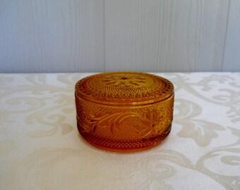 Vintage Amber Cut Glass Round Trinket Dish