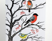 Winter Birds - Greeting Card - Christmas Card - Yule - Winter Landscape