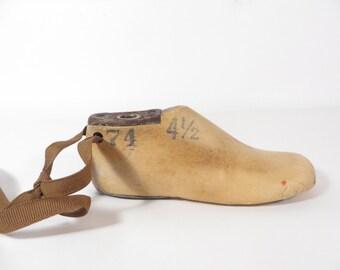 Vintage Childs Wood Shoe Mold - Childs Wood Shoe Form