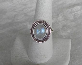 Moonstone Ring Handmade Stunning Blue 12x10mm Gemstone Ring Sterling Silver Ring Size 8 1/2 Take 20% Off Women's Rainbow Moonstone Jewelry