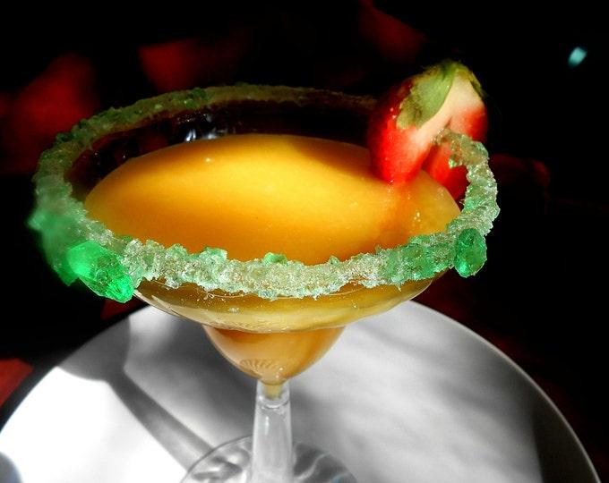 DISPOSABLE  RIMMED GLASSES, Mint Green Rock Sugar, Margarita Glasses, Home Bar, Sweet Margaritas, Drink Sweetener 12