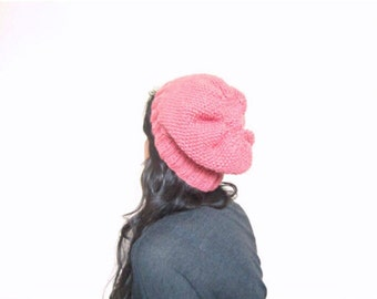 Pink Beanie, slouchy fit, hand knitted, unisex
