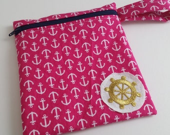 Zippered wet bag cosmetic pouch  by EcoAlternatives Hot Pink Nautical Anchors