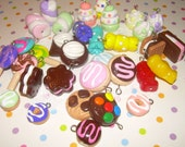 Set of 12 Clay Food Charms - Pick Your Choice of Style and Colors