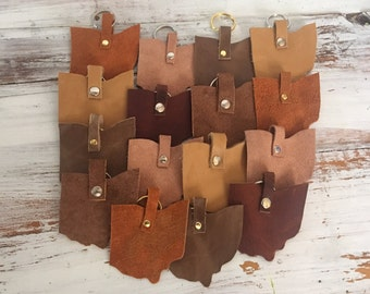 Leather ohio keychain, recycled leather eco friendly ohio keychain