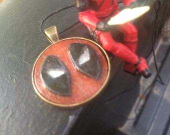 Hand-Carved DEADPOOL pendant