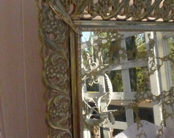 Filigree Mirror Frame with gold marbled  mirror Mirror Tray Wall Decor Vanity