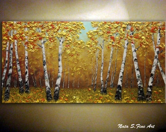 "Fall Birch Tree Painting Heavy Textured Artwork Palette Knife Impasto Birch Tree Painting Large Artwork 24"" x 48"" Birch Tree Art  by Nata"