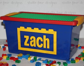 Personalized Storage Case w/Building Plate - Storage box for your Legos® - Kids Travel Activity - Ring Bearer Gift - Blocks Holder