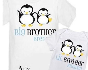 ON SALE 2 Big Brother Penguin Shirts Set Siblings Little Brother Siblings T-shirts