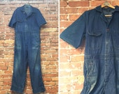 Vintage 70s Denim Jumpsuit / Coveralls / Mechanics Suit / Mens Size 42