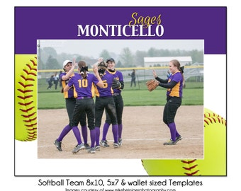 SOFTBALL Team 6 - 8x10, 5x7 & Wallet Sized Sports Memory Mate Template - Digital File