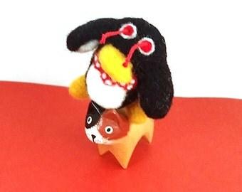 Mr. Flibble Red Dwarf Catnip Cat Toy - Needle Felted Wool