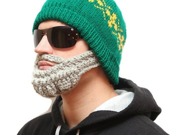 Crochet beard - Beard beanie, Beard Hat, beard head, beardhead, hats with beards, knitted beard, crochet beard hat, beanie with beard