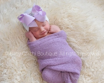 Newborn hat Hospital Hat Newborn baby girl beanie with bow Newborn Hat with bow Coming home outfit Baby Girl hospital hat Lavender Bow