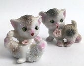Pair of Two Ceramic Textured Kitten Figurines // Stamped // Marked // Japan // 1950s // Sugar Spaghetti Texture