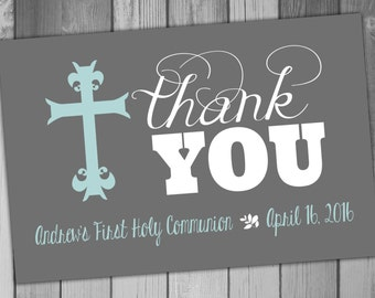 First Holy Communion Thank You Card 1st Holy Communion Invitation Printable Thank You Card Holy Communion Digital Thank You Thankyou Card
