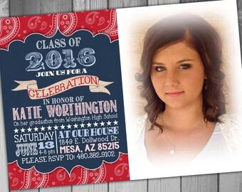 High School Graduation Party Invitation College Graduation Invitation Graduation Announcement Country Invitation Photo Graduation
