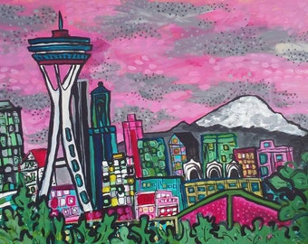 "Seattle, original 18"" x 24"" acrylic painting on canvas, space needle, skyline"