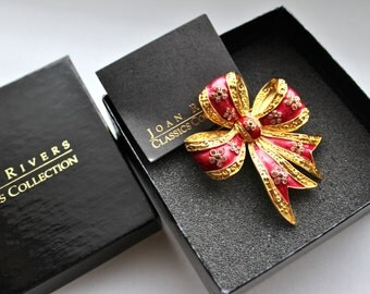Signed Joan Rivers  Pave crystal and red enamel BOW brooch pin/ Original Box  # 479