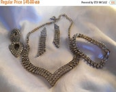 40% OFF SALE Statement Glamour Rhinestone Jewelry Set Necklace, Bracelet, Earrings, and Shoe Clips