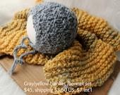 newborn photography prop, baby boy yellow gray baby blanket and textured bonnet set, newborn baby boy photo prop, baby shower gift