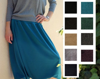 Turquoise harem skirt pant - harem pants Jersey - comfortable wide pants - thick Jersey trousers - Home wear - Yoga pants - Tall yoga pants
