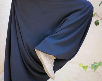 Deep Blue harem pants, cotton yoga pants, Women's long comfy trousers, Baggy, Loose fit, Drop crotch, Low crotch, Plus size harem pants