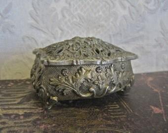 Brass Trinket Box Elaborate Victorian Design Vintage Metal Made in Japan Floral Oak Acorn Thistle Cut Out Lid Velvet Lined Ring Box